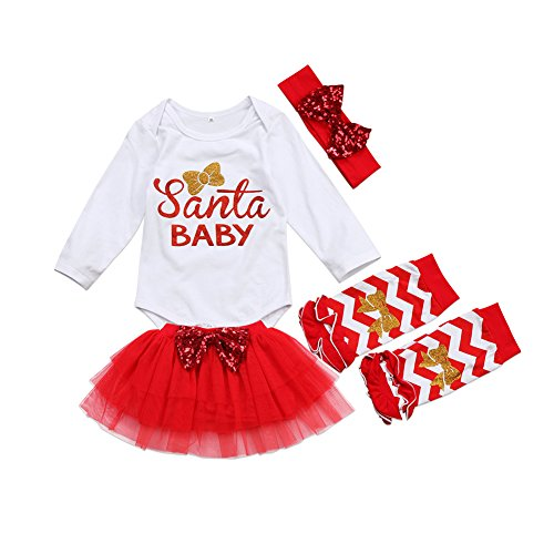 Honganda 4Pcs Cute Baby Girl Long Sleeve Romper+Leg Warmers+Tutu Skirt+Headband Outfits Christmas Costume (18-24 Months, White+Red) -