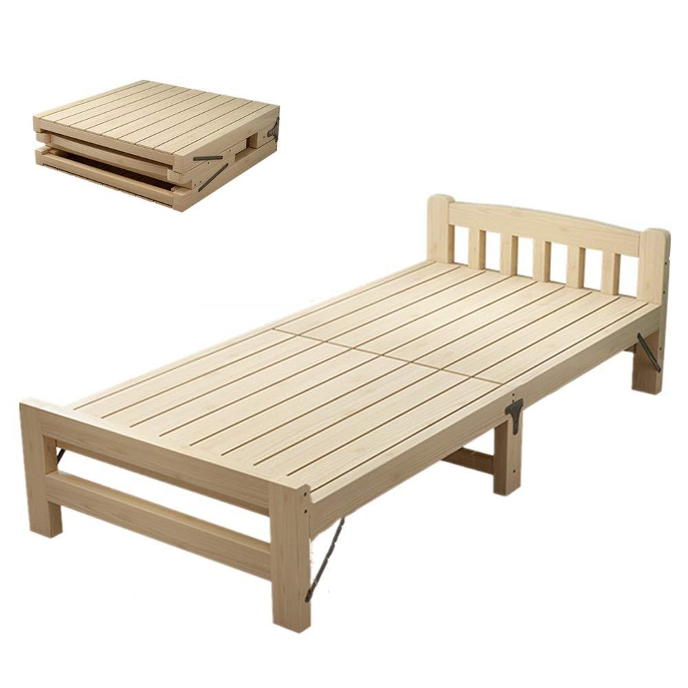 Klappbett Holzklappbett als Platzsparend for Kinder Multifunktions-Gästebett Tragbare Side Bett einfache Lagerung for Büro oder zu Hause Nap Klappbett Einzel ( Farbe : Natural , Size : 195x80cm )