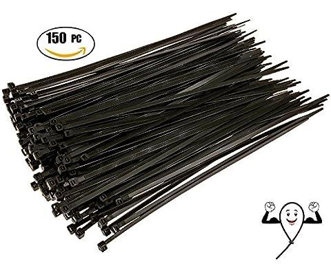 Cable Zip Ties 10 inch Premium Heavy Duty. 150 Piece, Large Pack of Black Nylon Wire Zip Ties by Strong Ties. 50 Pounds Tensile Strength, Indoor Outdoor UV (In Door Bike Stand)
