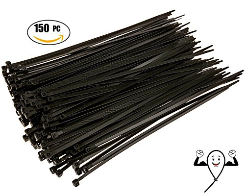 Cable Zip Ties 10 inch Premium Heavy Duty. 150 Piece, Large Pack of Black Nylon Wire Zip Ties by Strong Ties. 50 Pounds Tensile Strength, Indoor Outdoor UV Resistant.