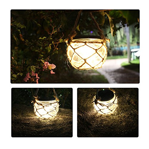 Outdoor Table Lantern (LIIDA Solar Jar Led Lights, Jute Rope Glass Jar Lamp for Garden Lighting , Solar Led Lantern for Table Wedding Decoration)