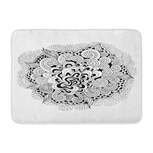 Psychedelic Soopat Bath Mat,Wave Black White Abstract Wallpaper