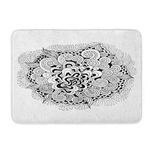 Psychedelic Soopat Bath Mat,Wave Black White Abstract Wallpaper Halloween Psychedelic Tribal Graphic Art Absorbent Non-Slip,Quick-Dry,Bathroom Rugs for Bathroom Indoor Doormat 17''L x -