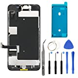 iPhone 8 Plus 5.5'' Full Screen Replacement LCD Touch Assembly Front Camera Earpiece Speaker Shield Plate with Frame Adhesive and Repair Tools (Black)