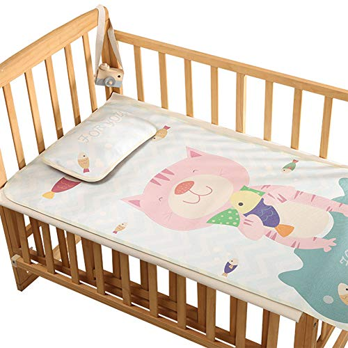 Bedding Ice Crib (Baby Summer Cool Mat Cute Cartoon Bed Pad with Pillow Set Breathable Ice Silk Sleeping Crib Mattress for Newborn Toddler Bed)
