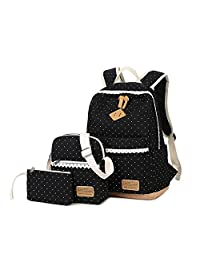 Cute School Backpack for Girls (3 Pieces),Teens School Bag Canvas Laptop Backpack Bookbag Purse for Kids by CLINE (Black) (bk)