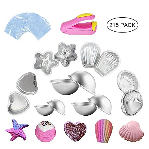 Bath Bomb Molds Bulk, 215pcs Bath Bomb Mold Kit-2/3/4.5/5/6oz Bath Bomb Moldings Aluminum Alloy Mold Shapes with 200pcs Shrink Wrap Bag and A Sealer for DIY Bath Bombs Handmade Soaps and Cake (Small Shell Scallop)