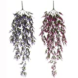 Flameer 2x Artificial Plant Vine Weeping Ivy Decorative Flower Outdoor and Indoor Decor Violet Blue, Purple