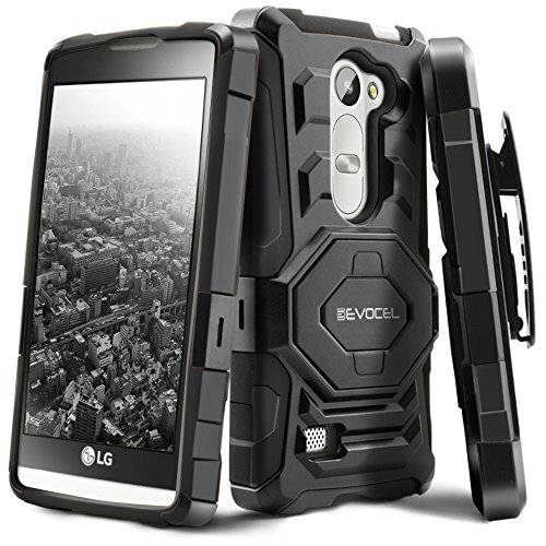 Evocel LG Leon C40 / LG Tribute 2 Case [New Generation] Dual Layer Rugged Holster Case with Kickstand and Belt Swivel Clip For LG Leon/ Tribute 2 (LS665)/ Destiny L21G/ Power L22C/ Risio, Black