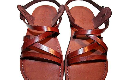 Brown Star Unisex Leather Sandals / Genuine Handmade Leather Holy Land Biblical Jesus Sandals (FBA) (EURO  40)