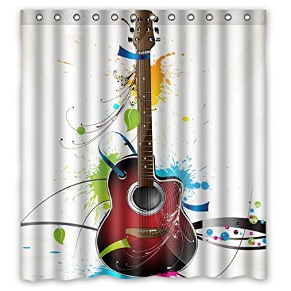 Amazon.com: Colorful Guitar painting art Bathroom decor Polyester ...