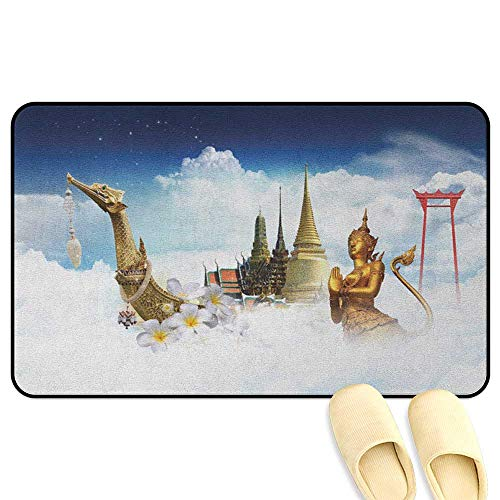 Asian Doormat Collection of Asian Meditation Icons Elements Over Clouds Yoga Yin Yang Image Yellow Black White Indoor/Outdoor/Front Door/Bathroom Mats Rubber Non Slip W31 x L47 INCH