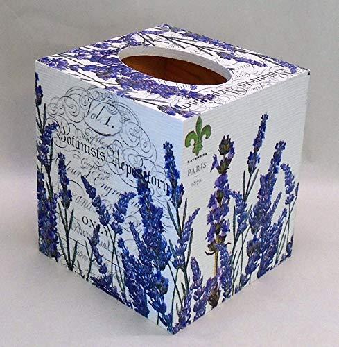Handmade Decoupage Wood Tissue Box Cover, Lavender, ()