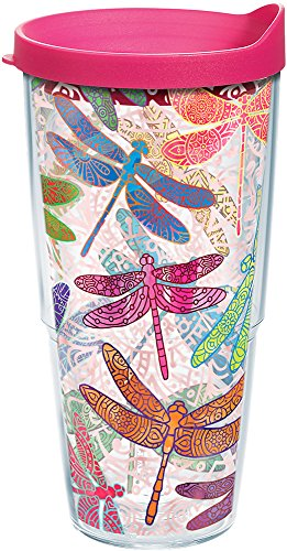 Tervis 1245295 Dragonfly Mandala Tumbler with Wrap and Fuchsia Lid 24oz, Clear (Tervis Tumbler 24)