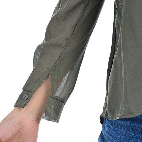 Dcontract Cou Chemise Lache en Chemisier Arm Haut Vert Chiffon Top Femme Longues Shirt Dihope Manches V q05RaO1