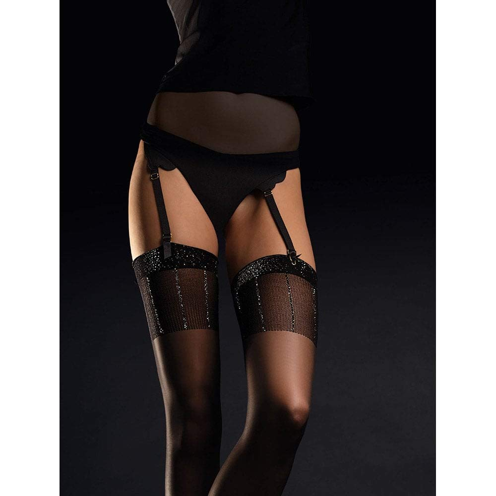 Fiore Suspender Stockings Hypnose with Metallic Top Pattern 20 Denier Sheer New