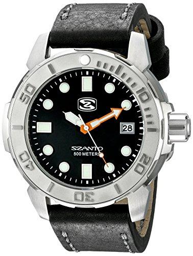 Szanto Men's SZ 5101 Deep Dive Analog Display Japanese Quartz Black Watch