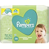 Pampers Natural Clean Unscented Water Baby Wipes 3X Refill Packs, 216 Count