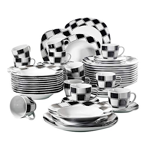 VEWEET 60-Piece Porcelain Dinnerware Set Black Grids Patterns Plate Sets with Dinner Plate, Soup Plate, Dessert Plate, Saucer and Mug, Service for 12 (Nicole ()
