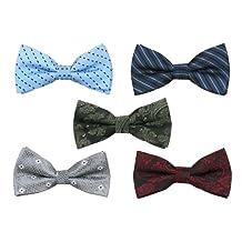 Bundle Monster Mens Tuxedo Solid Patterned Adjustable Neck Bowtie Bow Tie 5pc Assorted Lot Set - #2