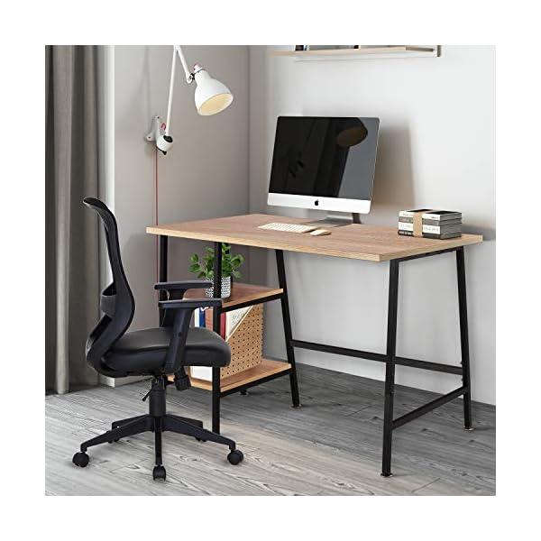 VECELO Table de Bureau avec 2 Etagères, Table Informatique en Bois chêne, Armature Métallique Table d'Etude pour Bureau…