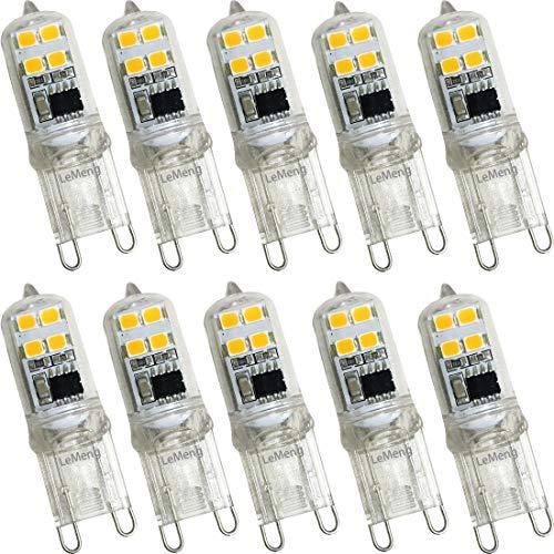 LeMeng G9 LED Light Bulb 2W, Mini Size 20W Equivalent 200LM, White White 2700K AC 120V Bi-Pin G9 Base LED Halogen Replacement Bulbs, Not Dimmable- 10 Pack