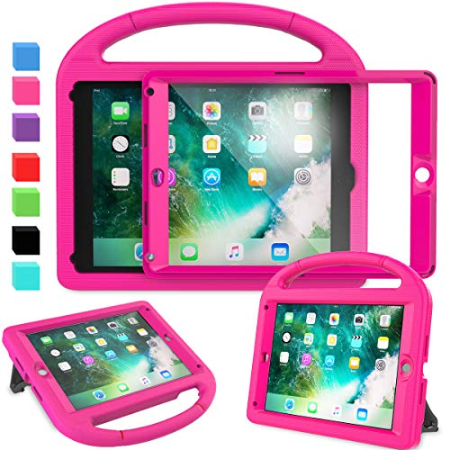 AVAWO Kids Case for New iPad 9.7 2018 & 2017 - Built-in Screen Protector Shockproof Case Convertible Stand with Handle for iPad 9.7 Inch (2018 6th Gen) & (2017 5th Generation) - Rose