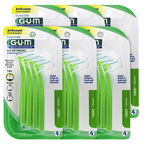 GUM Proxabrush Go-Betweens Interdental Brushes, Angle Cleaner, Tight, 4 Count (Pack of 6) ()