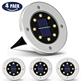 Solar Disk Lights,ATOOZ in Ground Lights 8LED 4Pcs Landscape Lights Waterproof Dark Sensing Solar Pathway Lights Outdoor for Lawn Pathway Yard(Warm White) For Sale