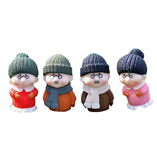 MonkeyJack 2 Pair Mini Winter Old Couple Resin People Model Kid Fairy Dollhouse CHIC Gift
