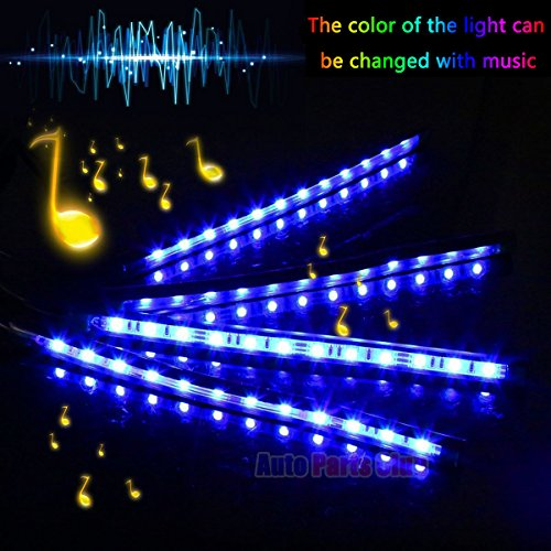 Car LED Strip Light, Auto Parts Club 4pcs 48 LED DC 12V Multicolor Music Car Interior Lights LED Under Dash Lighting Atmosphere Neon Lights Kit with Sound Active Function and Wireless Remote Control by Auto Parts Club (Image #4)