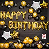 HK balloons Happy Birthday Gold, Black & Silver Balloons Decoration Balloon (Gold, Black, Silver, Pack of 48)