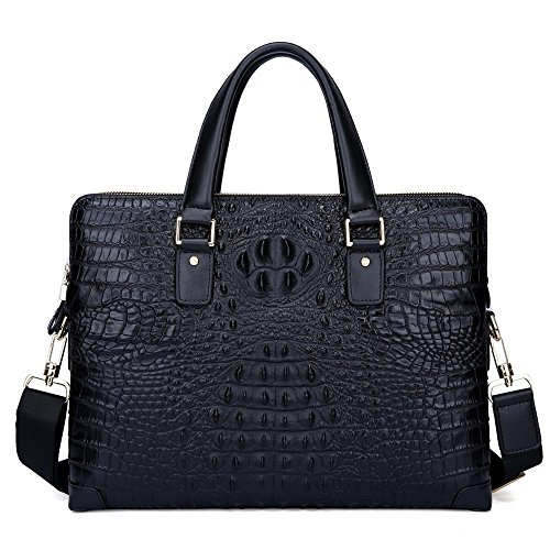 Price comparison product image INDEPMAN Crocodile Pattern Business Bag Genuine Leather Briefcase for Man (black)