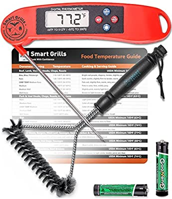 Premium BBQ Lover's Bundle By Smart Grills - 3-in-1 Barbecue Cooking Kit Gift Pack - Contains Electronic Instant Read Food Thermometer - Meat Temperature Magnet Guide - Stainless Steel Barbecue Brush