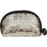 Hinwo Splendid Mermaid Sequin Cosmetic Bag Spangle Makeup Bag Sparkling Shiny Bling Paillette Clutch Handbag Purse Wallet Pouch with Zipper Closure, Shell, Gold