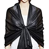 #3: QBSM Womens Large Solid Soft Silky Bridal Evening Wedding Party Scarf Shawl Wrap