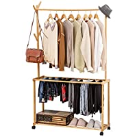 COPREE Bamboo Rolling Garment Clothes Multifuctional Laundry Rack with 4 Tree Stand Coat Hooks Hanger 1 Hanging Rods and 2-Tier Trouser Pants Shoe Storage Shelves