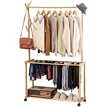 Amazon.com: ISINO Bamboo Wood Clothing Garment Rack with ...