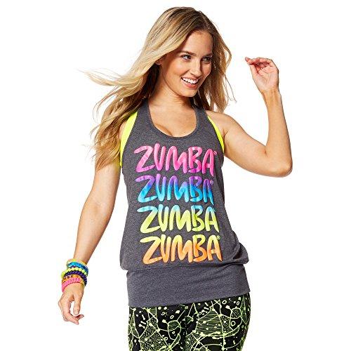 Zumba Unisex Zumba Happy Bubble Tank, Back to black Heather, X-Small/Small