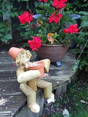 \ Ground Birdfeeder\  Flower Pot Man Garden Gnome Ornament - Great gardener gift for this summer (Log Man with a novel Bill and Ben type look) Amazon.co.uk ... & Ground Birdfeeder\