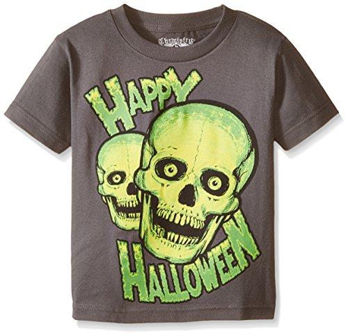C-Life Group Little Boys' Halloween Skull Tee, Charcoal, 5-6 (Halloween C)