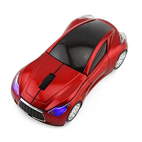 CHUYI Wireless Sport Car Shaped Mouse 1600DPI 3 Button Optical Mouse Ergonomic Mice with USB Receiver for PC Computer Laptop Gift (Red)