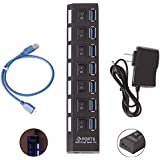 HDE 7-Port SuperSpeed USB 3.0 Hub with Individual On/Off Switches, 1.75ft USB Data Cable, and 5V 2A Power Adapter Included
