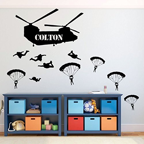 Army Wall Decor - Soldiers Parachuting From Chinook Helicopter - Personalized Name Vinyl Decal for Kids Playroom, Children, Military Families ()
