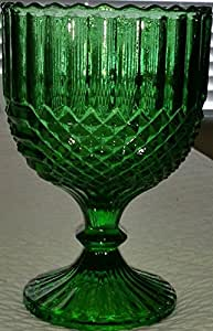 Vintage Goblet Compote Emerald Green Pressed Glass w/ Diamond & Panel Design