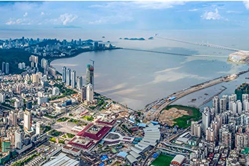 Home Comforts Peel-n-Stick Poster of Zhuhai China Skyline Aerial Guangdong Vivid Imagery Poster 24 x 16 Adhesive Sticker Poster Print (Zhuhai China)