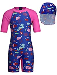 Cotrio Girls' Ocean Fish One Pieces Swimsuit Set Kids Rash Guard Shirts Short Sleeve Sun Suit with UV Sun Hat UPF 50+ Sun Protection (Size 5, 4-5Years, Blue)