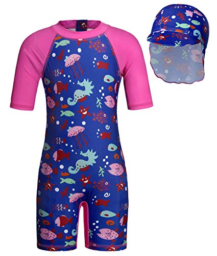 Cotrio Girls' Ocean Fish One Pieces Swimsuit Set Kids Rash Guard Shirts Short Sleeve Sun Suit with UV Sun Hat UPF 50+ Sun Protection (Size 4T, 4Years, Blue) ()