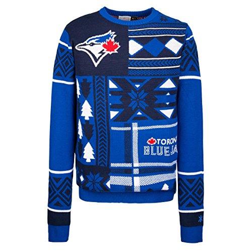 MLB Toronto Blue Jays Patches Ugly Sweater, Blue, Large