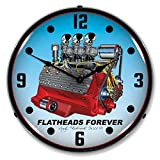 The Finest Website Inc. New Flathead V8 Engine Retro Vintage Style Advertising LED Lighted Clock - Ships Free Next Business Day to Lower 48 States